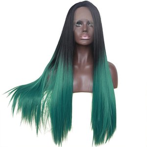 Long Straight Hair Ombre Green Lace Front Wig Synthetic Hair Heat Resistant Synthetic Lace Wigs Glueless Simulated Human Hair Lace Frontal