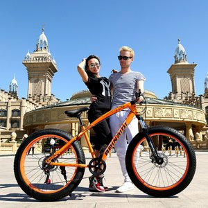 Wholesale 26 Inch Wheel Speed Fat Tire Bike Snow and Grass Sand Bicycle Mountain Bike with Powerful Disc Brakes Fatbike