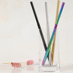Wholesale HOT Sale FDA Portable Reusable Folding Drinking Straws Stainless Steel Metal Telescopic Foldable Straws with Aluminum Case Cleaning Brush