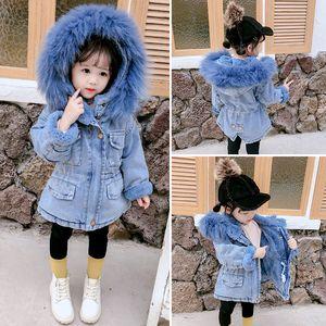Children's Cowboy Warm Jacket For Girls Plus Velvet Warm Jacket Thicken Toddler Jackets 2-7Y Denim Velvet Coat Infant Girl Parka