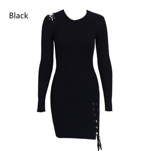 Wholesale jumper knee for sale - Group buy New Lace Up Skinny Knitted Sweater Dress Women Elegant Split Pull Knit Winter Dress Autumn Jumper Vintage Pullover