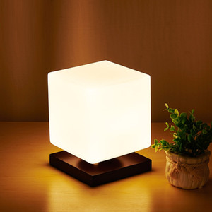 Wholesale Modern Simple Real Wood LED Desk Lamp Study Office Reading Light Cube Sugar Glass Adjustable Table Lamp For Bedroom Bedside I204
