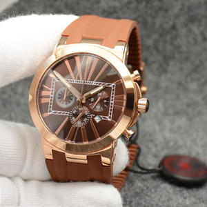 Wholesale marine chronograph watches for sale - Group buy Masculine Men Watch Marine Ceramic Bezel Brown Dial Chronograph Quartz Battery Executive Dual Time Rubber Strap Wristwatches Mens Watches