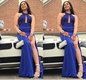 Sexy Jewel Neck Sleeveless Royal Blue Mermaid Prom Dresses Lace Beaded Side Split Black Girls Evening Party Dress on Sale