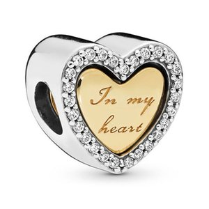 Original 925 Sterling Silver Bead Charm Gold Color SHINE & Silver In My Heart Charm Fit Pandora Bracelet & Necklace Diy Jewelry