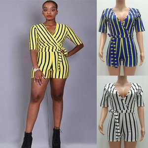 Wholesale Summer Women Striped Print Straps Jumpsuit Solid Color Tshirt Tops Deep V neck Short Sleeve Streetwear Romper Bodycon Clubwear C41604