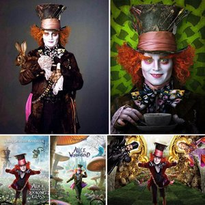 Wholesale 5d Diy Diamond Painting Alice in Wonderland Diamant Painting Mad hat Cartoon Diamond Embroidery Anime Scape Home Decor Gift Y17