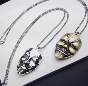 Wholesale VENDETTA V word vendetta mask necklace movie with the same smile face mask pendant rock punk street hip hop style men necklace