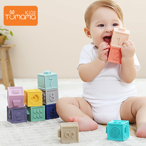 Tumama 12pcs Baby Toys Grasp Ball Building Blocks 3D Touch Hand Soft Balls Massage Rubber Teethers Squeeze Toy Bath Ball Toys CJ191216