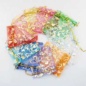 11 colors 7X9cm Open Gold Silver Heart Small Organza Bags Jewelry Gift Pouches Candy Bag Jewelry Pouches, Bags HJ246