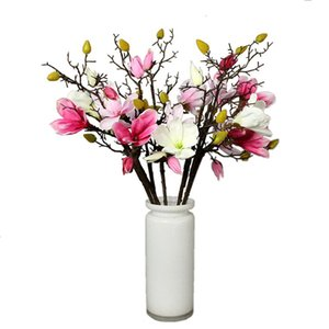Wholesale Silk Magnolia Artificial Flowers Real Touch Home Vase Decor Wedding Bridal Bouquet cm Long Fake Flower
