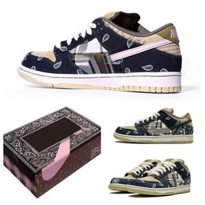2020 TOP quality Travis Scotts x SB Dunk low running shoes Black Parachute Beige Petra Brown Black Athletic Skateboarding sports Trainers