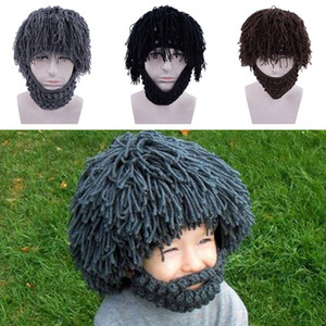Wholesale Hand Knitting Funny Party Beanies Wig Beard Hat Unisex Winter Knit Warm Hat Halloween Gifts Masks Beard Cap For Children Adult