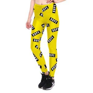 Wholesale JIGERJOGER NEW Yellow Letters Print Leggings ladies plus size XL Sport Tight Pants Gym Running Printed Stretchy Leggings Fitnes