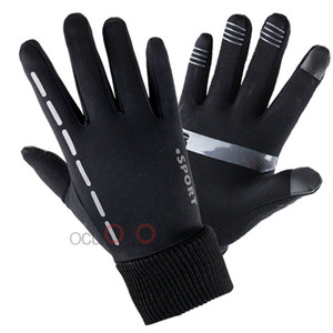Wholesale Winter Outdoor Sports Gloves Warm Full Finger Touch Screen Unisex Light Gloves Windproof Skid Plus Velvet Running Riding Mittens