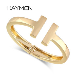 Wholesale Hot Selling Women s Letter quot T quot Shape Cuff Bracelet Bangle Made of Zinc alloy With Good Quality Colors Fashion Bangle Jewelry