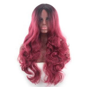 Wholesale Fashion New Female Black Gradient Wine Red Long Curly Hair Big Wave Anime Cosplay Wig Set jooyoo
