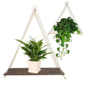 Wholesale floating wood shelf for sale - Group buy H30 indoor outdoor decoration simple design Wood Swing Hanging Rope Wall Mounted Floating Shelves Plant Flower Pot