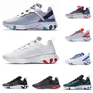 Wholesale High quality Tour Yellow react element mens women running shoes Orange Peel Sail triple black white Taped Seams sports sneakers