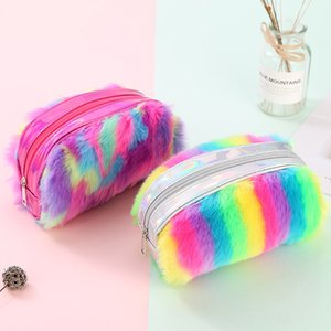 Wholesale Student Rainbow Pencil Case Back To School Student Fluff Pencil Storage Bag Kids Purse Ladies Zipper Brightening Cosmetic Bag