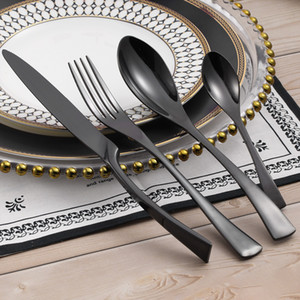 Wholesale LEKOCH Black Flatware set Stainless Steel Dinnerware Cutlery sets Dinner Fork Spoon Knife For Anniversary Gift Wedding