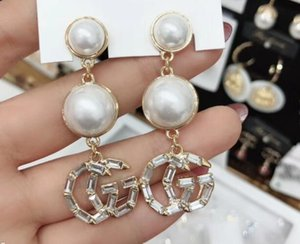 New Earrings Bohemia Women's Personality Pearl Pendant Crystal Rhinestone Letter Earrings Holiday Gift Fashion Accessories