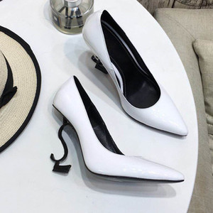 Women letters Heels Pumps Sandals 11CM High Heels White patent Leather Pointed Toes Round Woman's Dress Wedding Shoes 35-41 Free Shipping on Sale