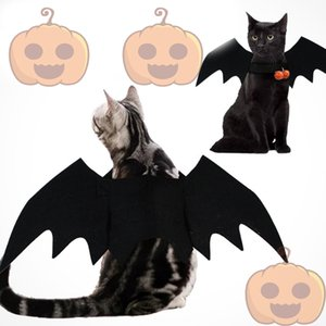 Halloween New Design Pet Black Unisex Bat Cosplay Costume Vampire wings With Bells Dog Harness Festival Clothes Free shopping