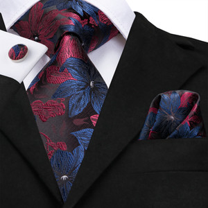 Hi-Tie Red and Blue Floral Necktie Set 8.5cm Wide 100% Handmade Silk Ties for Mens Luxury Party Wedding N-3125