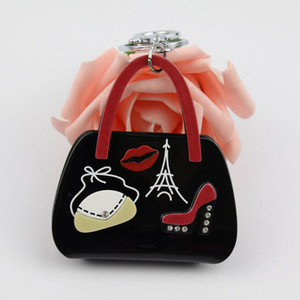 Wholesale Bag High Heels Lips Eiffel Tower Pattern Handbag Shape Key Chain Key Ring New Fashion Jewelry For Women Charm Accessory