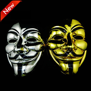 Wholesale Gold Silver V Mask Masquerade Masks For Vendetta Anonymous Valentine Ball Party Decoration Full Face Halloween Scary Party Mask DBC VT0770