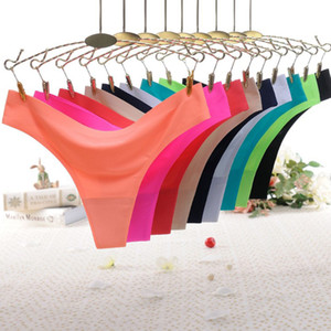Solid Sexy Panties Women Cotton Seamless Low Rise Thongs Lingerie Underwear Knickers Elasticity Ice Silk Ladies Sexy G String
