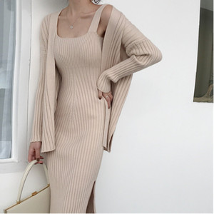 Wholesale New High quality winter Women s Casual Long Sleeved Cardigan Suspenders Sweater Vest Dress Two Piece Runway Dress Suit