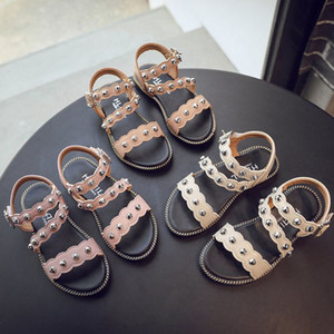 Wholesale decoration beach resale online - Kids Summer Beach Sandals Buckle Strap Flat Sandals Girls Beaded Decoration Single Shoes Kids Performance Shoe