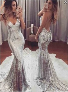 Wholesale Sexy Silver Sequins Mermaid Prom Party Dresses 2020 Open Back Plus Size Sweep Train Formal Pageant Evening Gowns Cheap