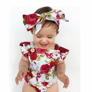 INS hot sale jumpsuit Toddler baby girl flower printed cotton romper +head band baby clothing set 2pcs