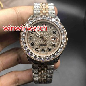 Wholesale Full iced out two tone watch men s automatic diamonds rose gold watches mm diamonds dial works smooth hands wristwatch new style watch