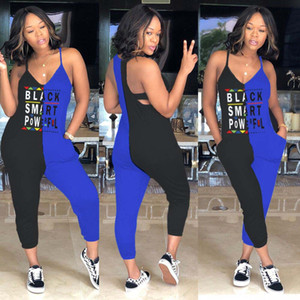 Wholesale Black Smart Jumpsuits Women Summer V Neck Spaghetti Strap Colors Patchwork Casual Rompers One Piece Suits