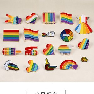 Rainbow Pins Creative Finger Game Turntable Brooch Cartoon Sheep Mouse Cloud Colored Lapel Pin Heart Jackets Lapel Badge Jewelry .
