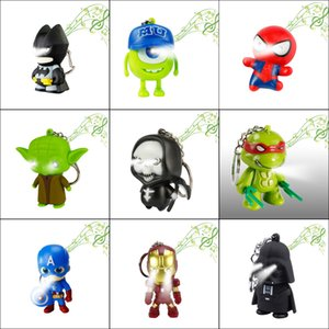 Superhero Batman Iron Man Spiderman Superman Captain America Keychain Keychain LED Lights Toys Key Chains Ring Fashion Backpack Pendant