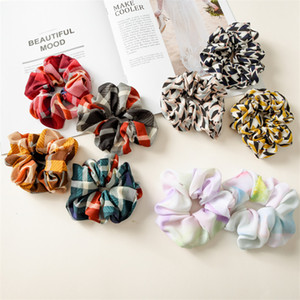 Wholesale 9styles Girls Rose floral Color Elastic Ring hair Ties accessories Ponytail Holder hair band Rubber Band Scrunchies Rainbow hair bows TJY801