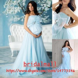 Light Sky Blue Tulle Maternity Wedding Dresses 2019 Plus Size A Line Beach Boho Pregnant Bridal Gowns Plus Size Custom Vestidos De Novia