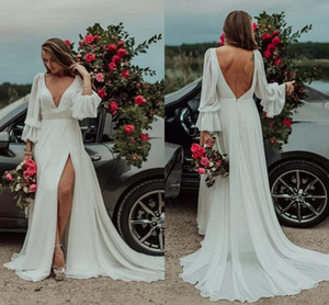 Wholesale 2020 Sexy High Slit V neck Bohemian Wedding Dresses Long Chiffon with Juliet Sleeves Ruched Court Train Beach Country Wedding Bridal Gown