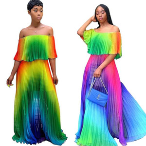 2019 women beach Gradient tie dye print chiffon off shoulder butterfly sleeve maxi pleated dress sexy boho long dresses top quality