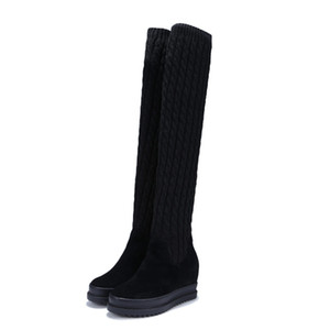 Wholesale Platform Creepers Women Black Cow Leather Stretch Wedges Thigh High Sneakers Knit Stocking Over The Knee Boots High Heel Pumps