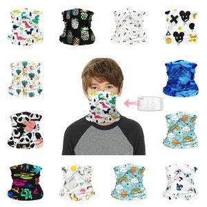DHL Shipping Bandana Scarf Multi-Purpose Neck Gaiter without Filter Kids Children Creative Cartoon Headband Protection Face Mask B99F