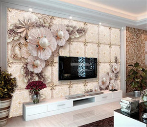 Wholesale Photo Wallpaper 3d Luxurious And Delicate Three-Dimensional Jewelry Flowers Living Room TV Background Bound Wall Painting Wallpaper