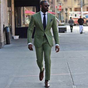 Casual Green Men Suits for Wedding Suits Man Blazers Custom Made Groom Tuxedos 2Piece Coat Trousers Slim Fit Costume Homme Evening Party