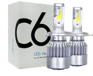 1Pair cheapest price COB C6 Real 7600LM 120W LED Car Headlight H1 H3 H4 H7 9003 9004 9005 9006 Kit Hi Lo Light Bulbs 6000K