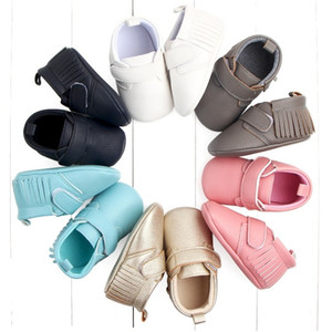 Wholesale toddler red bottom shoes resale online - newborn baby moccasins toddler boy girl infant pu baby shoes leather fringe soft bottom Non slip Crib First Walker solid